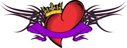 Heart and ribbon tattoo tshirt3 Royalty Free Stock Photos