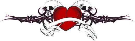 Heart and ribbon tattoo tshirt Royalty Free Stock Photography