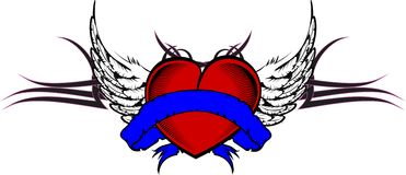 Heart and ribbon tattoo tshirt5 Royalty Free Stock Images