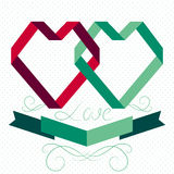 Heart from ribbon, valentine card. Stock Images