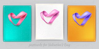 Heart from ribbon Valentine day vector background eps 10. Valentines day background on postcard. Heart from ribbon St. Valentine day vector background. Brochure Royalty Free Stock Photos