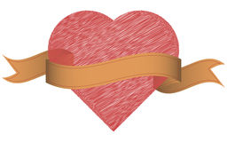 Heart with ribbon. Vintage ribbon and hand drawn heart. Stock Images