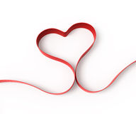 Heart from ribbon on white background Stock Photos