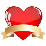 Heart with ribbon. On a white background stock illustration