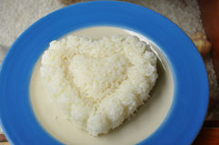 Heart Rice. In the plate Stock Photos