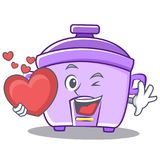 With heart rice cooker character cartoon Royalty Free Stock Photography