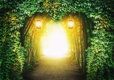 Heart road in a fantasy forest. With magic light Royalty Free Stock Photo