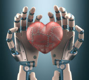 Heart Robot. Robot hand holding a metal heart. Clipping path included royalty free stock image