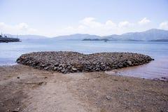 Heart Rock in Hong Kong. Artifical Heart Rock in Wu Kwai Sha beach, Hong Kong Royalty Free Stock Photo