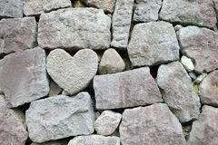 Heart rock wall Stock Photos