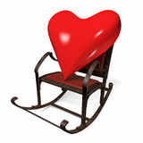 Heart in a rocking chair. 3D object on a white background. 3D heart on a white background Royalty Free Stock Photography