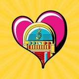 Pop art design. Heart with rockola icon over yellow background colorful design vector illustration stock illustration