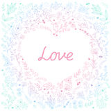 Heart. Romantic floral background in doodle style with word `Love`. Card design for Valentine`s day stock illustration