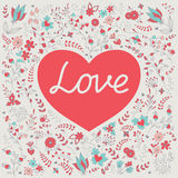 Heart. Romantic heart with word `Love` on a hand draw floral background stock illustration