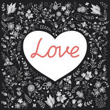 Heart. Romantic heart with word `Love` on a hand draw floral background vector illustration