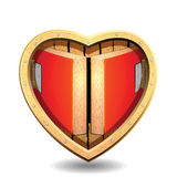 Heart room.Abstract of heart.Wedding card. Wood heart room for clip art Stock Image