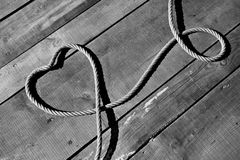 Heart with ropes. Heart made of ropes in B&W Royalty Free Stock Image