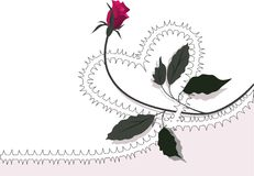 Heart-rose. The ornamental background element with stylized heart and rose Royalty Free Stock Photo