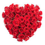 Heart of rose. Red roses heart isolated on white, clipping path included Royalty Free Stock Image