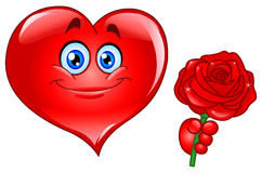 Heart with rose. Illustration of a smiley heart giving rose Royalty Free Stock Photography