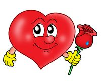 Heart with rose. Color illustration Royalty Free Stock Photos