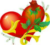 The heart with a rose Royalty Free Stock Photo