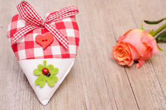 Heart and rose as greeting card Stock Photos