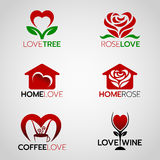Heart and rose logo , home love logo and coffee and wine logo vector set design Stock Photo