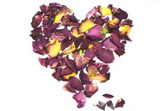 Heart of rose petals. Hesrt of dried rose petals Stock Images