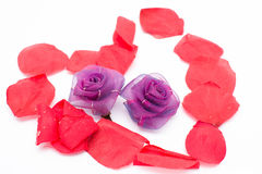 Heart with rose petals Royalty Free Stock Images