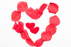 Heart with rose petals Stock Photos