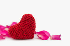 Heart and rose petals Royalty Free Stock Image