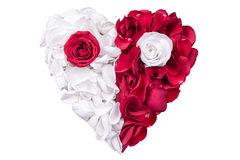 Heart Rose Petals White Red Royalty Free Stock Photo