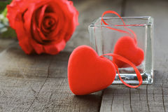 Heart and rose red in love. Stock Photo