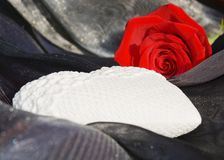 Heart and rose on sparkling black background, close up Stock Photography