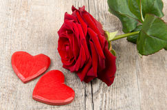 Heart and rose for Valentine's day Stock Photos
