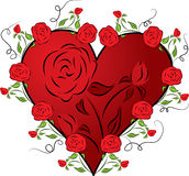 Heart with a rose, vector Stock Images