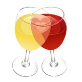 Heart in the rose wine. Formed by red and white wine glasses Stock Photos