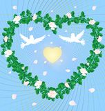 Heart roses. On an abstract blue background heart, woven from the roses in the center of two white doves and a golden heart Royalty Free Stock Image