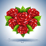 Heart of roses. Abstract heart of roses with water drops Royalty Free Stock Photography