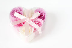 Heart of roses. Heart of pink and white roses on white background Stock Images