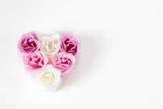 Heart of roses. Heart of pink and white roses on white background Stock Photos