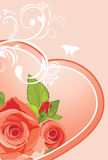 Heart with roses. Background to the Valentines day. Illustration Royalty Free Stock Photography