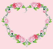 Heart roses border. art work Stock Photography