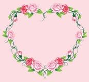 Heart roses border. art work. Illustration vector illustration