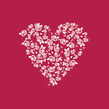 A heart. Roses. Embroidery.heart embroidered roses. Stock Photos