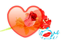 Heart roses lips and I love you words icon Royalty Free Stock Image