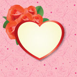 Heart with roses on pink background - card - eps Royalty Free Stock Photos