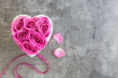 Heart of roses in pink on grey background royalty free stock photo