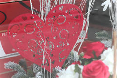 Heart and roses. Red heart and roses display in shop window Stock Images